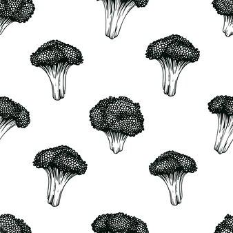 ブロッコリー手描きの背景シームレスパターン。
