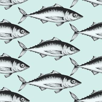 魚と手描きスケッチシーフードシームレスパターン。