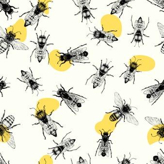 Вектор бесшовный образец с ползающими пчелами.