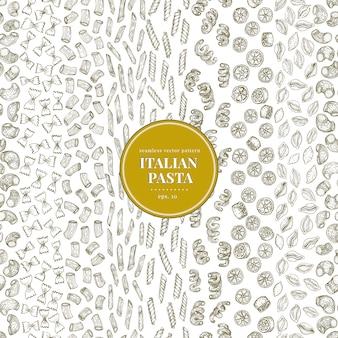 さまざまな種類の伝統的なイタリアのパスタとのシームレスなベクターパターン。