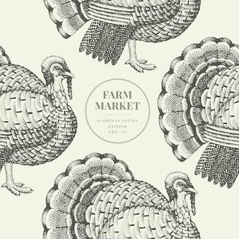 シームレスな農場のベクトルパターン。グラフィカルな七面鳥のシルエット
