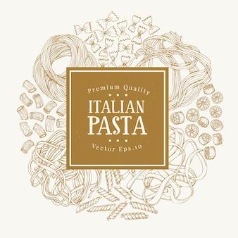 イタリアの伝統的なパスタの種類とベクトルフレーム。
