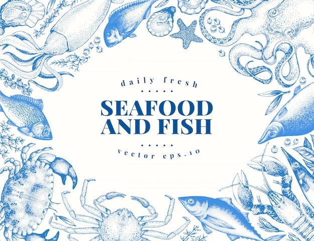 Векторные винтажные морепродукты и рыбный ресторан иллюстрации.