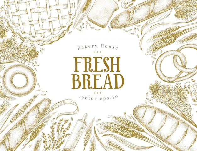 ベーカリートップビューバナー。パン、ペストリー、小麦の描かれたフレームを手します。