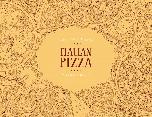 Вектор итальянская пицца вид сверху кадр.