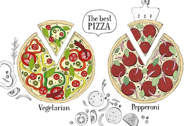イタリアンピザのカラフルなイラスト。手描きの背景食品イラスト。