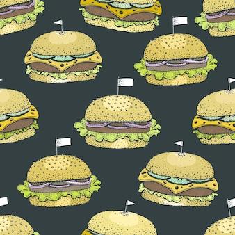 ハンバーガーとシームレスなパターンベクトル。