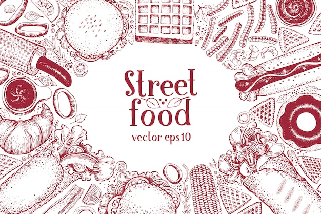 手描きファーストフードバナー。屋台の食べ物平面図の背景。