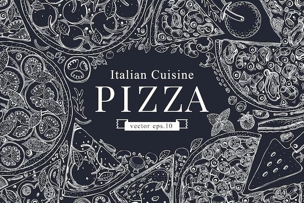 Рамка взгляд сверху итальянской пиццы вектора на доске мела.
