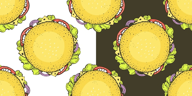 トップビューハンバーガーとシームレスなパターンベクトル