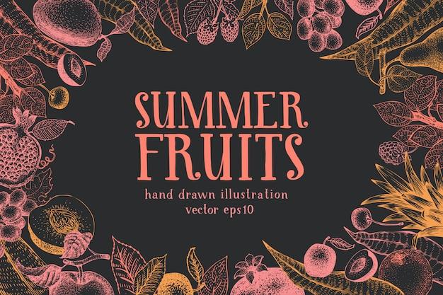 フルーツ手描きのベクトルの背景。