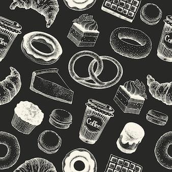 コーヒーブレーク手の描かれたシームレスパターン。フードレトロスタイル