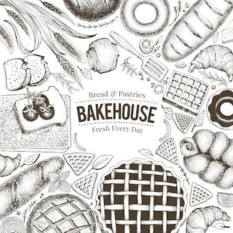 Пекарня вид сверху кадр. нарисованная рукой иллюстрация вектора с хлебом и печеньем.