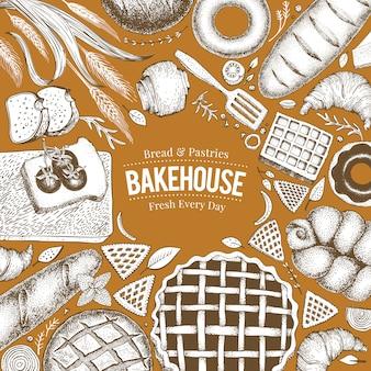 ベーカリートップビューフレーム。パンとペストリーの手描きの背景イラスト。