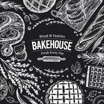 チョークボード上のベーカリートップビューフレーム。パンとペストリーの手描きの背景イラスト