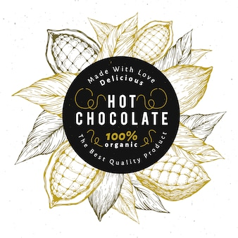 Шаблон дизайна дерева бобов какао. предпосылка какао бобов шоколада.