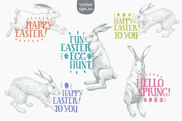 ウサギとハッピーイースターのグリーティングカード。手描きの背景イラスト。