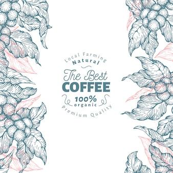 コーヒーツリーバナーのテンプレート。ベクトルイラストレトロなコーヒーの背景。