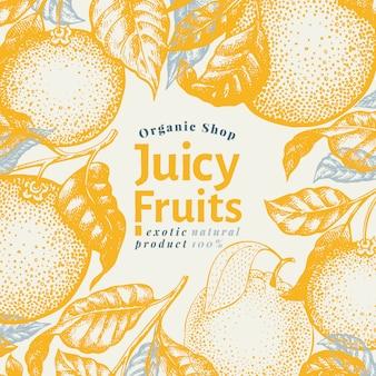 オレンジ色の果物のデザインテンプレート。手描きベクトルフルーツイラスト。刻まれたスタイルのバナー。レトロな柑橘類の背景。