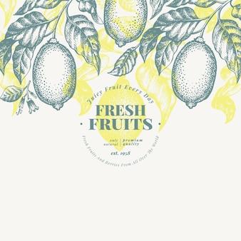 レモンツリーバナーのテンプレート。手描きベクトルフルーツイラスト。刻まれたスタイルレトロな柑橘類の背景。