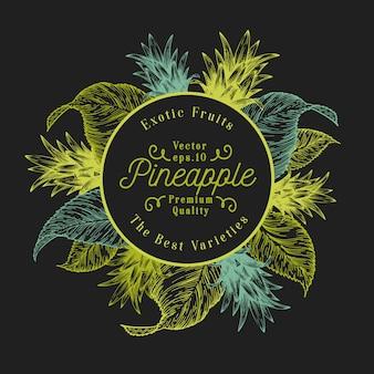 Ананас фруктовый дизайн шаблона. ручной обращается векторные иллюстрации фруктов. гравированный стиль ретро тропический фон.
