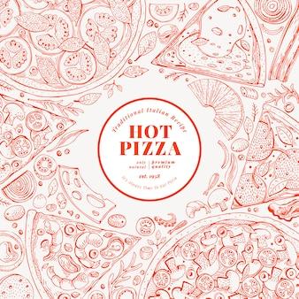 ピザのデザインテンプレート。手描きの背景のファーストフードのイラスト。スケッチスタイルのレトロなイタリアのピザの背景。