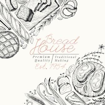 ベーカリートップビューバナーのテンプレート。パンとペストリーの手描きの背景イラスト。ビンテージのデザインテンプレート。メニュー、包装にも使えます。