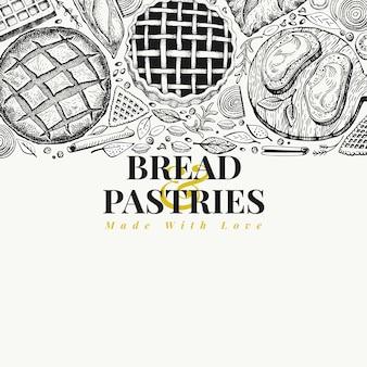 ベーカリートップビューフレーム。パンとペストリーの手描きの背景イラスト。ビンテージのデザインテンプレート。メニュー、包装にも使えます。