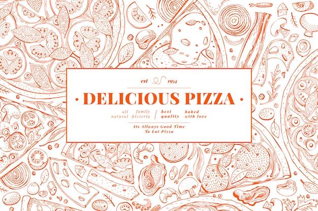 イタリアのピザと食材のフレーム。