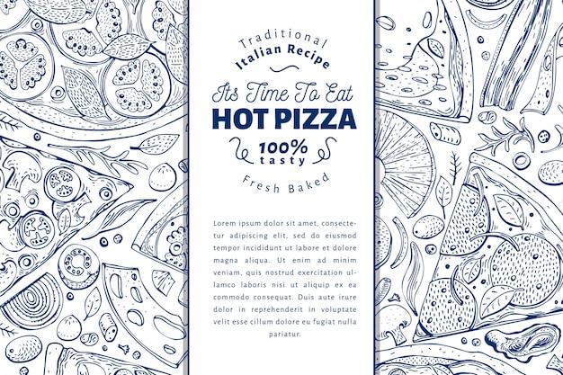 イタリアのピザと食材のフレーム。イタリア料理バナーデザインテンプレート