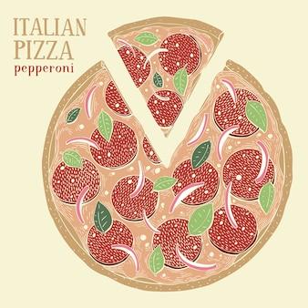 イタリアンピザペパロニのカラフルなイラスト。手描きの背景食品イラスト。