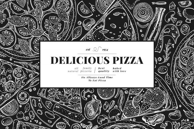 イタリアのピザと食材のフレーム。イタリア料理バナーデザインテンプレート。