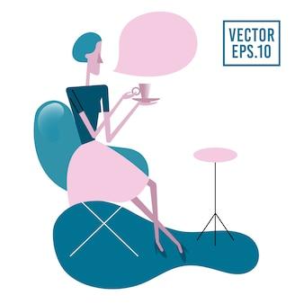 お茶やコーヒーを飲みながら、肘掛け椅子のテーブルに座っている若い女性。