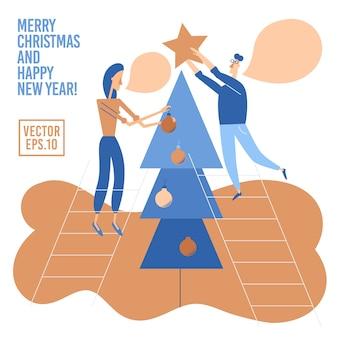 Люди украшают елку. счастливые персонажи готовятся к празднованию рождества или нового года.