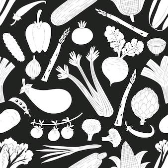 漫画手描き野菜のシームレスパターン