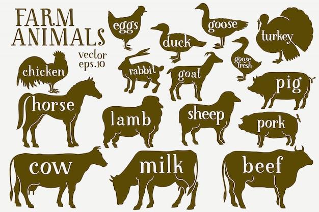 ベクトル手描き農場の動物のシルエット。