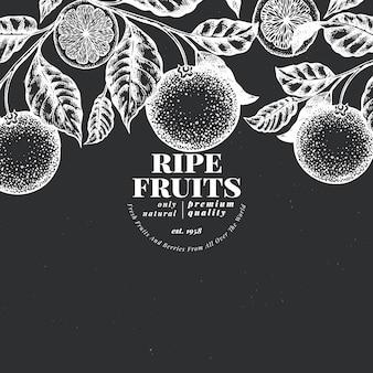 オレンジ色の果物のデザインテンプレート。