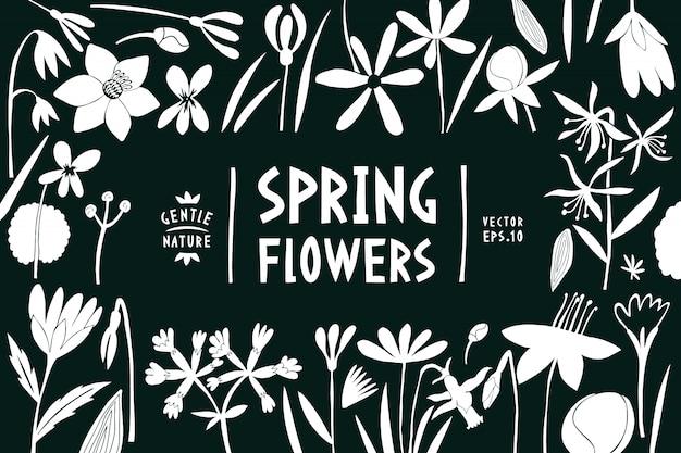 春の花のデザインテンプレートです。
