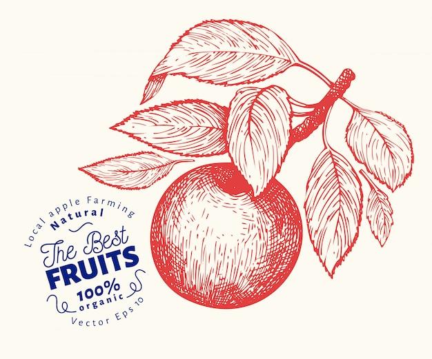 リンゴの枝のイラスト。