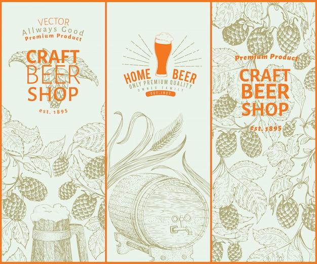 ビールホップのデザインビンテージビールの背景。ベクトル手描きホップイラスト。レトロなスタイルのバナーセット。