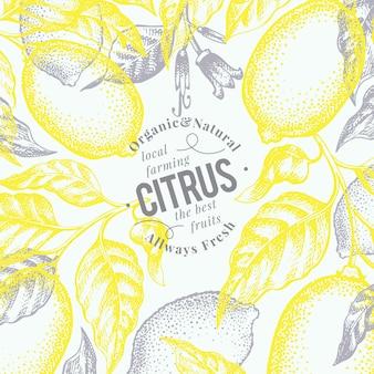 レモンの背景。手描きベクトルフルーツイラスト。刻まれたスタイルレトロな柑橘類の背景。