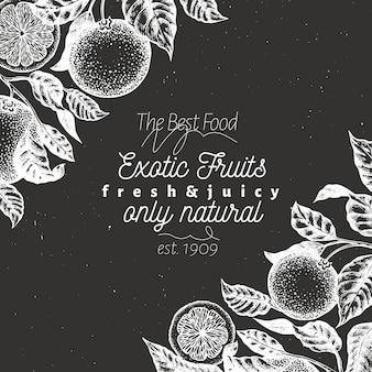 エキゾチックなフルーツの背景。チョークボードに描かれたベクターフルーツイラストを手します。刻まれたスタイルレトロな柑橘類の背景。