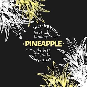 Ананас фрукты дизайн фона. нарисованная рукой иллюстрация плодоовощ вектора на доске мела. выгравированный стиль ретро тропический.