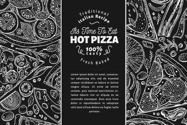 イタリアのピザと食材の背景テンプレート