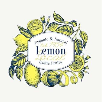 レモンツリーバナー。手描きベクトルフルーツイラスト。刻まれたスタイルレトロな柑橘類