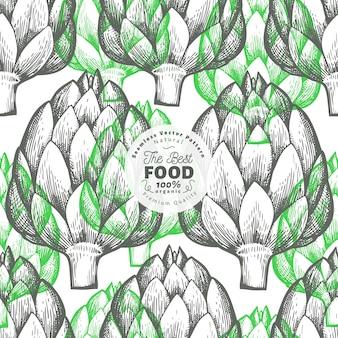 アーティチョークの野菜柄。手描きの背景食品イラスト。刻まれたスタイル