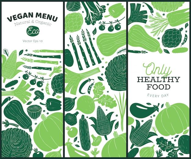 手描き野菜デザインのセットです。モノクログラフィック