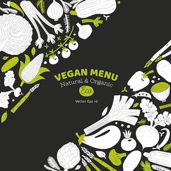 漫画の手描き野菜デザイン。モノクログラフィック野菜の背景