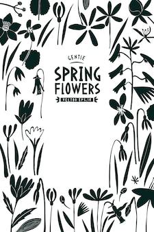 春の花のテンプレート。