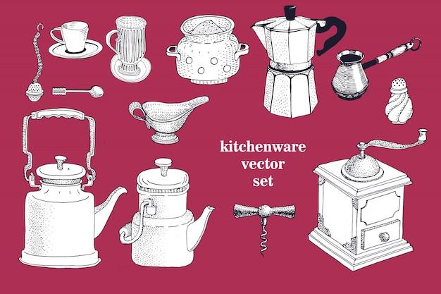 手描きの台所用品のベクトルを設定します。ヴィンテージのイラスト